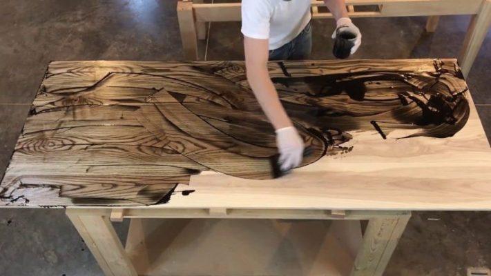gỗ sồi phun màu óc chó